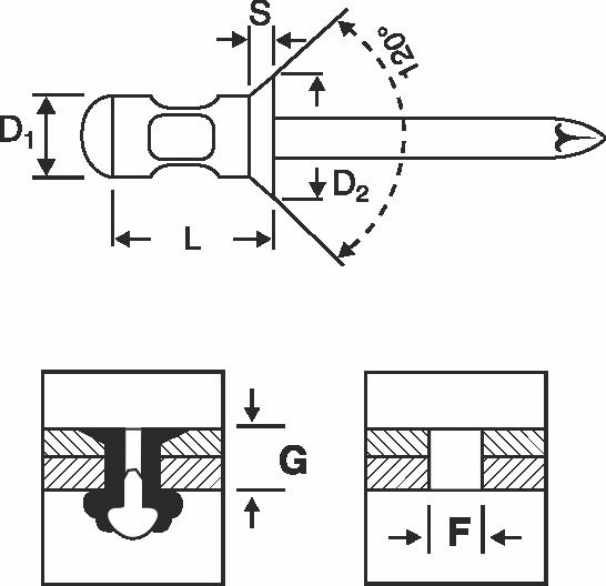 AL/ST - Multigrip blind rivet countersunk head - N-Bolt